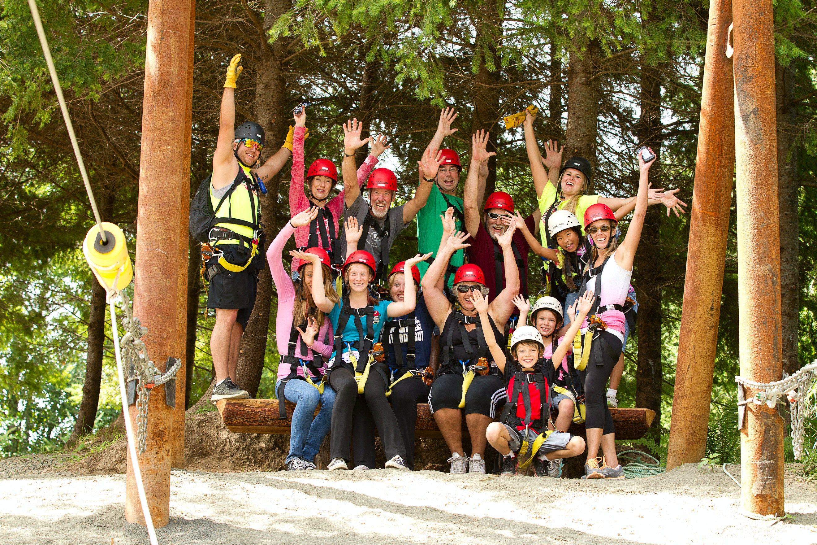 A group of happy zipliners with High Life Adventures