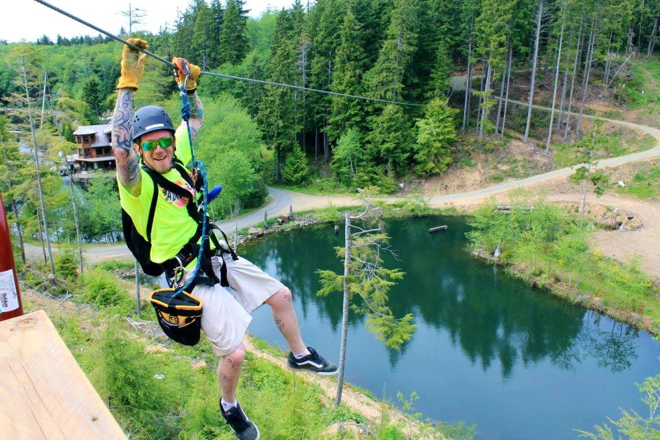 Sparky ready to zipline over the treetops in Warrenton
