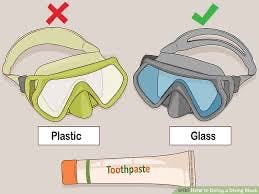 Dive mask lens toothpaste rubbing tips for plastic and glass.