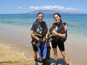 Maui shore diving with clear water at Airport Beach.