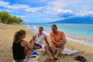 PADI Open Water Diver course instruction at a beach in Lahaina, Maui.