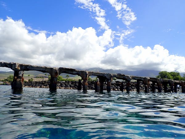 Maui scuba diving site called Mala Wharf, seen from the ocean's surface.