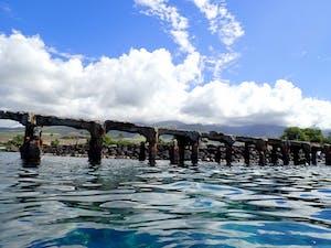 Maui scuba diving site called Mala Wharf, seen from the ocean's surface.