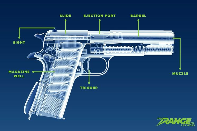 Cross-section of a handgun