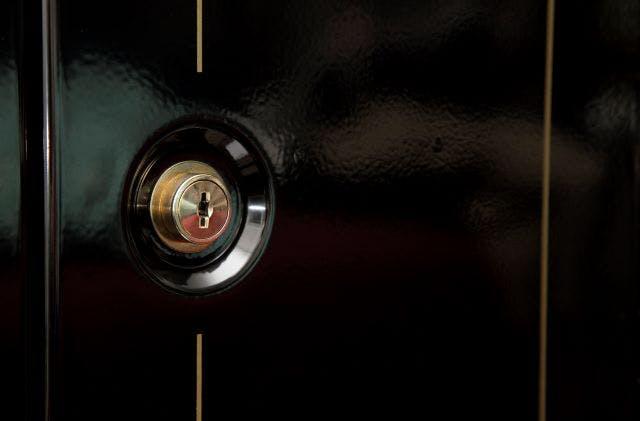 a close up of a gun safe with lock