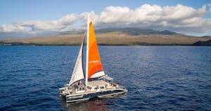 Open ocean sailing on the Kai Kanani II catamaran boat in Maui