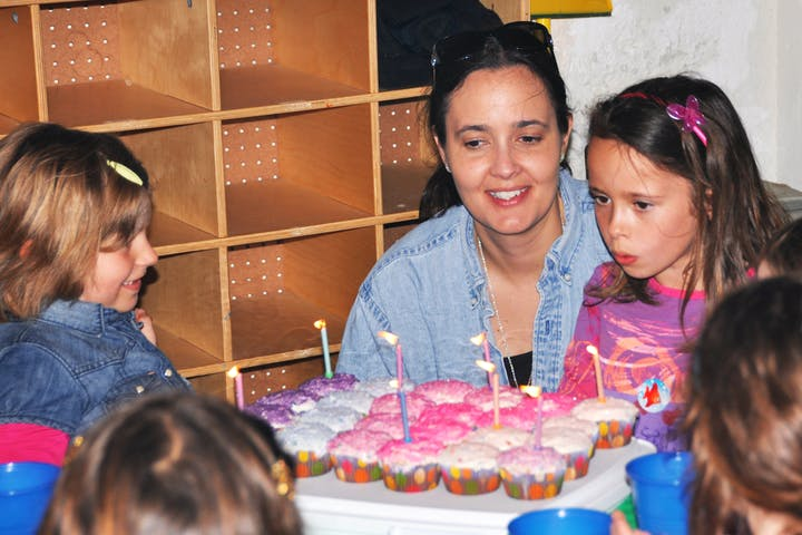 Kids Birthday Party With Dolphin Little Girl Cake