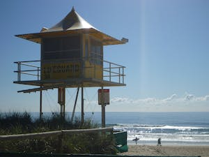 yellow tower on the beach
