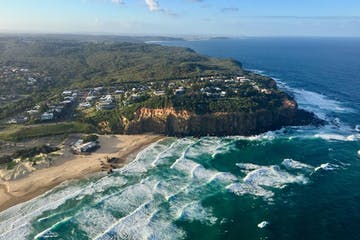 the coast of Newcastle in New South Whales as seen from a helicopter
