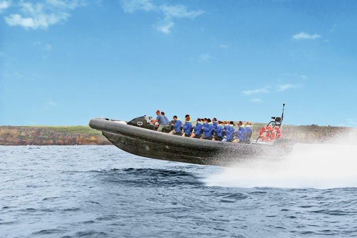 Group of people on riding a speedboat