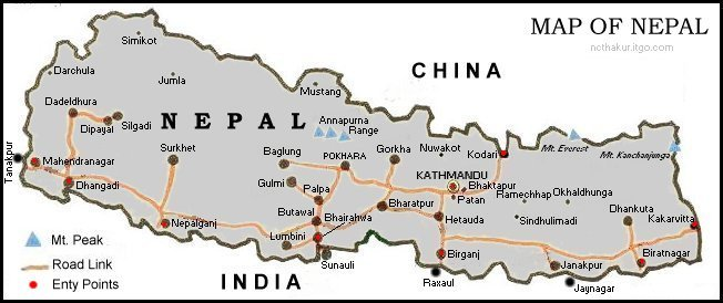 Where is Nepal - Map of Nepal - next to China and India