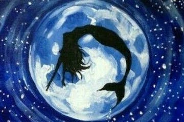 Mermaid jumping in front of moon