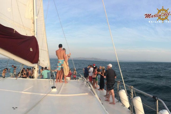 Tourists on deck of catamaran