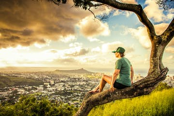 woman perching on tree o'ahu