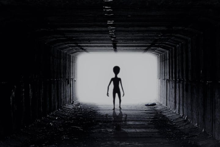 Alien walking in Area 51