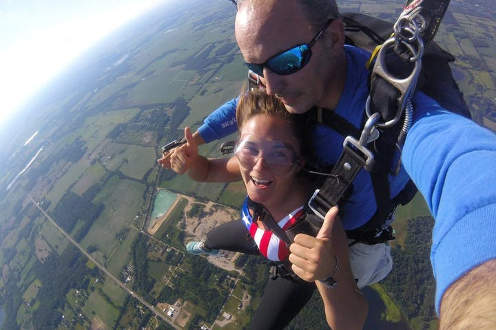 girl and instructor skydiving in Indiana