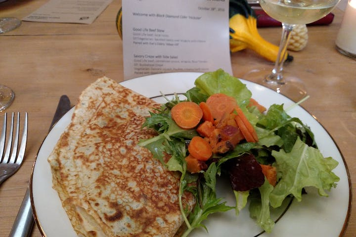 Locally-sourced crepe lunch made fresh at Finger Lakes Cider House