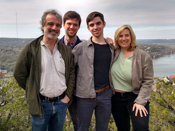 Laura and Alan Falk with their sons Gabriel and Jackson in Austin, TX - Dec 2017