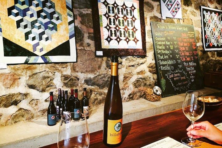 Tasting in the private cellar at Billsboro Winery