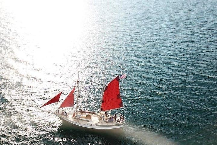 Spirit of Buffalo sailing as the sun sets