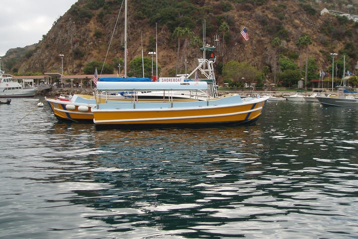 One of the Avalon Shoreboats sitting int he harbor