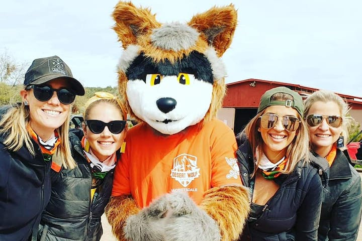 Sunny the Desert Wolf with adventurous guests