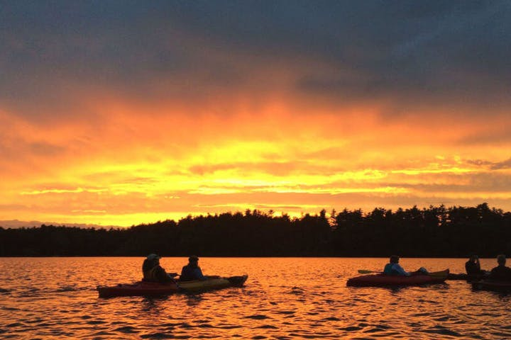 Kayakers in the sunset