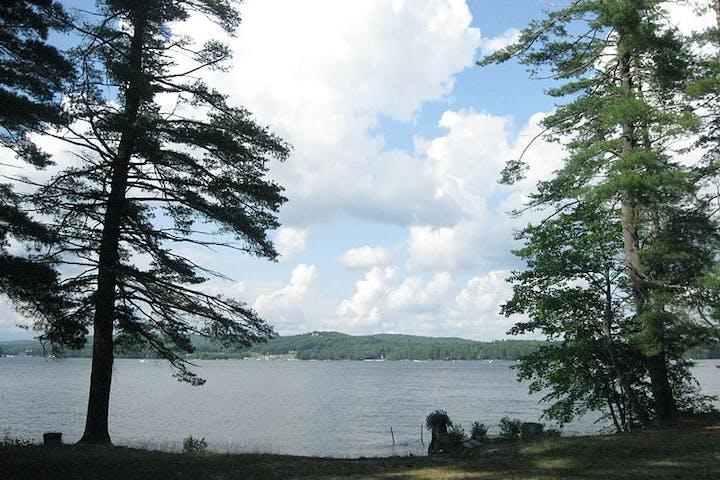 Sebago lake through trees