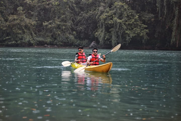 two men on a kayak