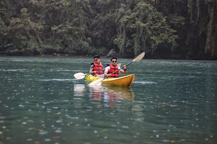 two men on a kayak