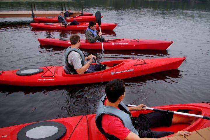 canoe workers