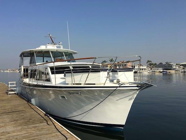 Vintage Yacht docked in Huntington Beach CA