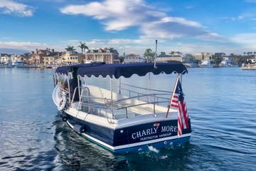 Family friendly boat rental named Charly More cruises Huntington Harbour