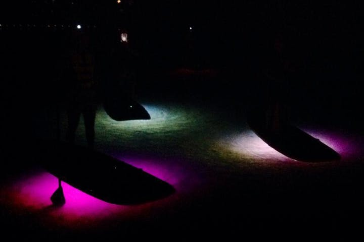 Glow paddle boards on lake