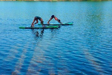 People in downward dog on SUP board