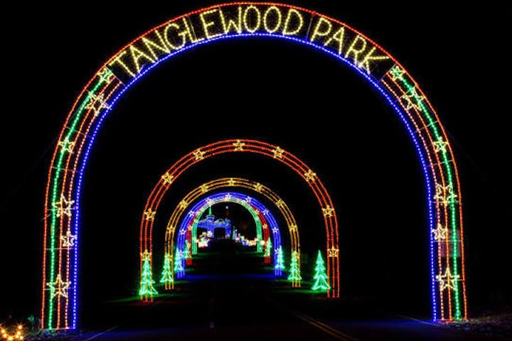 Tangle Wood Park with lights forming an ark pathway