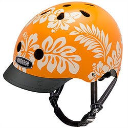 Orange Nutcase Helmet with white print hibiscus flowers