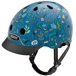 Blue Nutcase helmet with various good vibe designs