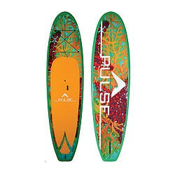 PULSE The Reef Paddle Board. Green board with orange foot stomp