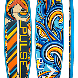 PULSE The Jackie paddleboard blue with orange and yellow strips and swirls