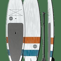 VESL Stripes white paddleboard with dark gray stripes