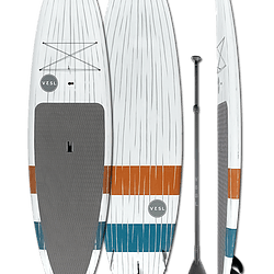 VESL Stripes white paddleboard with dark gray stripes