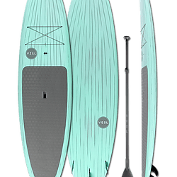 Marine Slate torquise paddleboard with gray stripes and stomp pad