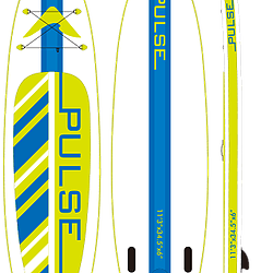 PULSE Inflatable 11'3'' white paddleboard with a blue stripe in the middle and limegreen stompad with blue stripes