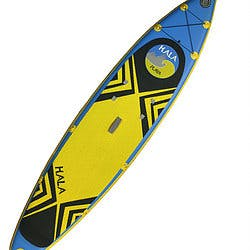HALA Playa Inflatable 11.5'30''6' Neon yellow and matte blue paddleboard with black triangles pointing in