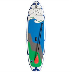 HALA Rival Hoss 10'10''35''6'' white paddle board with blue wave with gray and green triangular waves beneath blue