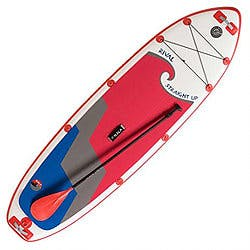 HALA Rival Straight-Up 10'33''6'' white paddleboard with red wave and gray and blue triangular waves beneath red wave