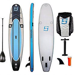 Voyager Air 1100 11'30''6'' paddleboard front, side, back. Gray paddleboard with blue stripes