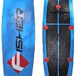 FISHER Aria Inflatable 11'30''6'' blue paddleboard with black letters FISHER and red square encompassing white F