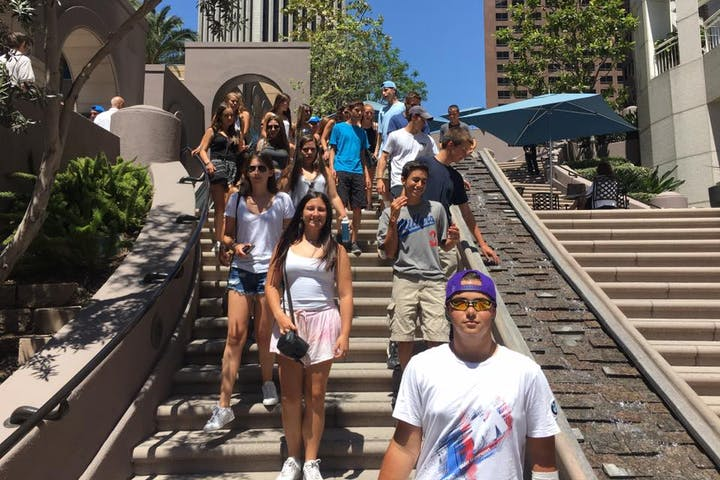 tour group on stairs